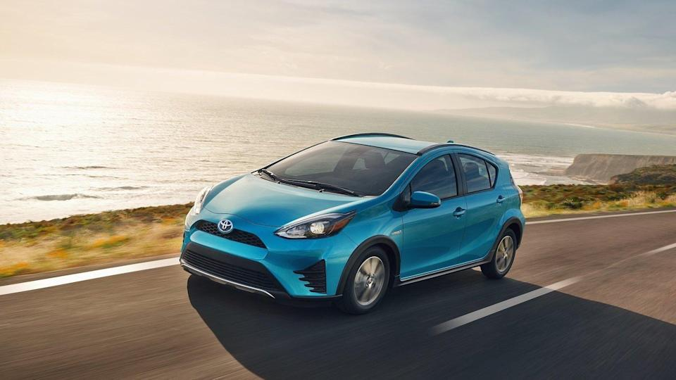 """<p><strong>Toyota Prius C</strong></p> <p>The <a href=""""https://www.autoblog.com/2019/02/19/toyota-prius-c-discontinued/"""" data-ylk=""""slk:Prius C"""" class=""""link rapid-noclick-resp"""">Prius C</a> was the cheapest Prius money could buy. It's also the slowest and worst to drive. If you're a frequent user of Uber and Lyft, these cars are most likely the bane of your existence. They're tiny and uncomfortable, but they're cheap and get great gas mileage. The Prius C going away also brings the Prius lineup back to where it started after Toyota rapidly expanded things with the <a href=""""https://www.autoblog.com/2012/03/09/2012-toyota-prius-v-review/"""" data-ylk=""""slk:Prius V"""" class=""""link rapid-noclick-resp"""">Prius V</a> and Prius C variants. We have the <a href=""""https://www.autoblog.com/2016/10/03/2017-toyota-prius-prime-first-drive-1-review/"""" data-ylk=""""slk:plug-in Prius Prime"""" class=""""link rapid-noclick-resp"""">plug-in Prius Prime</a> today, too, but it's back to just one body style for Toyota's venerable hybrid.</p>"""