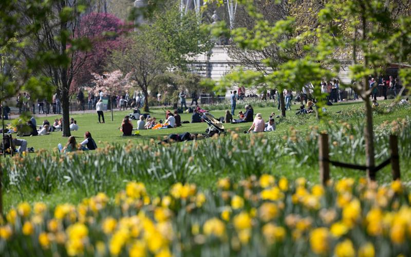 Sunseekers enjoy the warm weather at St James Park, - Credit:  Isabel Infantes