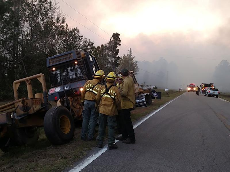The wildfire burned an estimated 696 acres of land outside Jacksonville, a large city in the southeastern state: Reuters