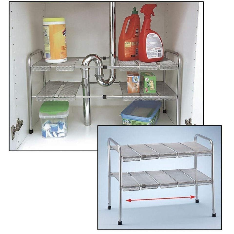 """<p>These <product href=""""https://www.amazon.com/ATB-Expandable-Adjustable-Storage-Organizer/dp/B00ED4ZUPO/ref=sr_1_29?ie=UTF8&amp;qid=1546902120&amp;sr=8-29&amp;keywords=home+organizers"""" target=""""_blank"""" class=""""ga-track"""" data-ga-category=""""Related"""" data-ga-label=""""https://www.amazon.com/ATB-Expandable-Adjustable-Storage-Organizer/dp/B00ED4ZUPO/ref=sr_1_29?ie=UTF8&amp;qid=1546902120&amp;sr=8-29&amp;keywords=home+organizers"""" data-ga-action=""""In-Line Links"""">Atb 2-Tier Under Sink Shelf Storage Shelves</product> ($37) are adjustable and expandable, so they perfectly fit in your space.</p>"""
