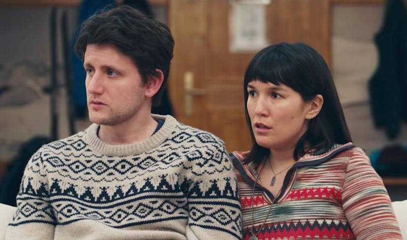Zach Woods as Zach and Zoë Chao as Rosie in Downhill.