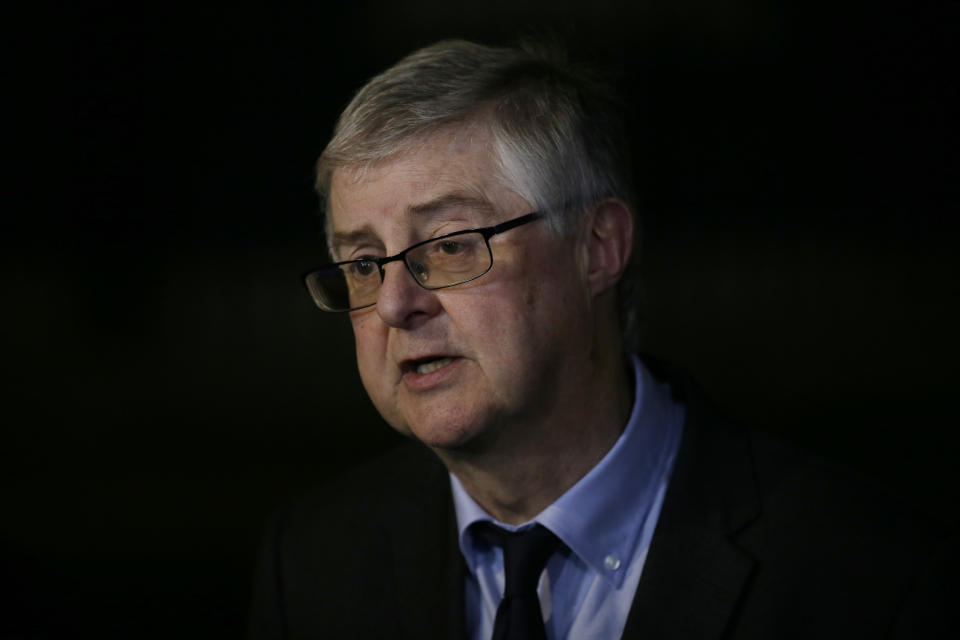 First Minister of Wales Mark Drakeford speaks to the media after a meeting at 10 Downing Street, in London, Wednesday Dec. 19, 2018. (AP Photo/Tim Ireland)
