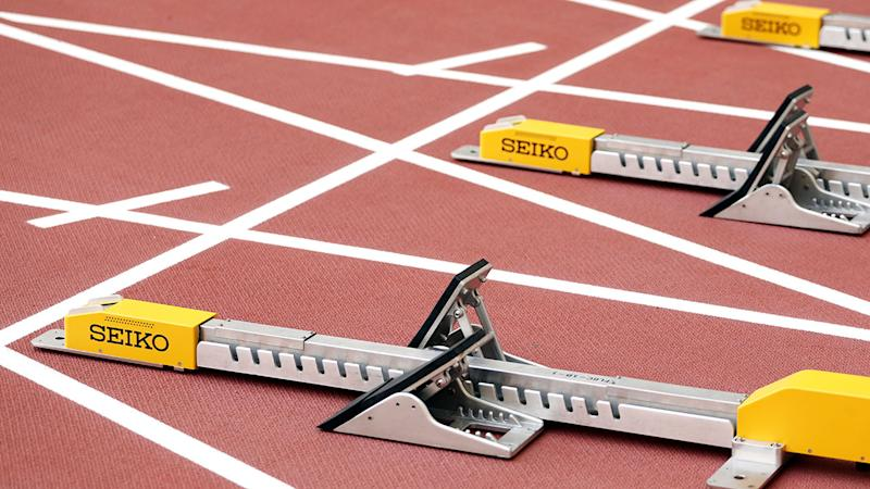 The starting blocks, pictured here at the world athletics championships.