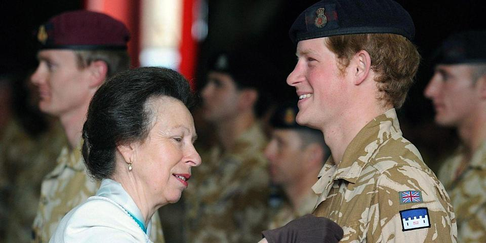<p>Princess Anne presents Harry with a campaign medal for his service in Afghanistan.</p>