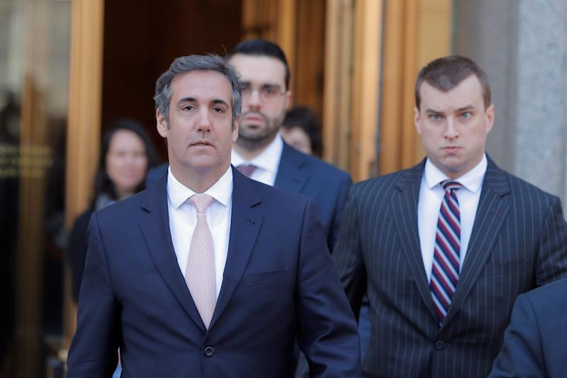 Trump's personal lawyer Michael Cohen, seen left, has admitted to having paid $130,000 to the adult film actress.