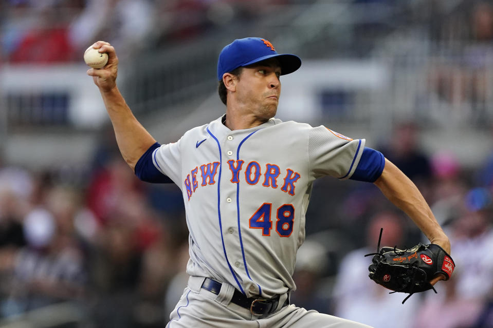 New York Mets starting pitcher Jacob deGrom works in the first inning of a baseball game against the Atlanta Braves Thursday, July 1, 2021, in Atlanta. (AP Photo/John Bazemore)