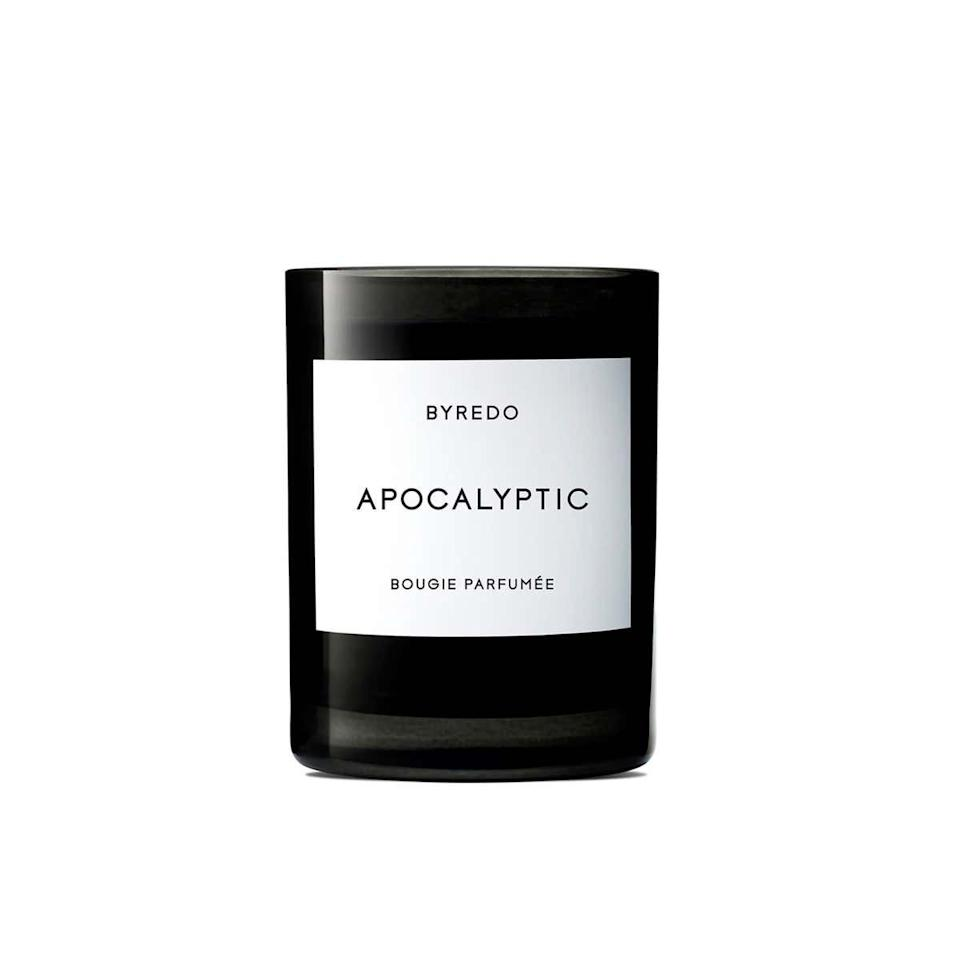 "If I had to pick a favorite candle, it'd have to be <a href rel=""nofollow"" target=""_blank"">Byredo Apocalyptic</a>. It has a smoky, woody scent that immediately makes you feel like you're in a cabin or by a fireplace. The scent sometimes doesn't travel far, so I would recommend putting it in a smaller space (like in a bathroom or in a corner by your bedside). —<a href=""https://www.instagram.com/cinnamonryan"" target=""_blank""><em>Ryan Norville</em></a><em>, florist and founder of</em> <a href=""https://www.oatcinnamon.com/"" rel=""nofollow"" target=""_blank""><em>Oat Cinnamon</em></a> $85, Nordstrom. <a href=""https://shop.nordstrom.com/s/byredo-apocalyptic-candle/4771792/lite"">Get it now!</a>"