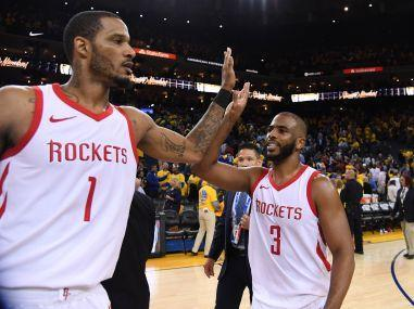 NBA regular-season wins leader Houston, powered by James Harden's 30 points and 27 from Chris Paul, edged defending champion Golden State 95-92 on Tuesday.
