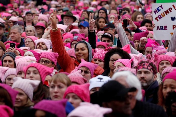 People gather for the Women's March on Jan. 21, 2017.