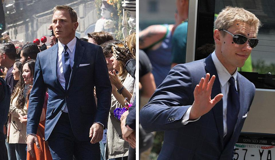 <p>This daring chap doubled for Daniel during the spectacular aerial fight sequences at the beginning of 'Spectre', which is why he also has strange dots on his face (most likely so that Craig's face can be mapped on by CGI later on).</p><p>He's actually one of several people who stood in for 007 in the movie, depending on the different skills the secret agent was supposed to show off.</p>
