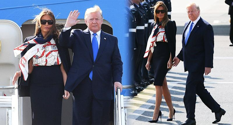 Melania Trump's outfit is being compared to a cabin crew uniform. [Photo: Getty]