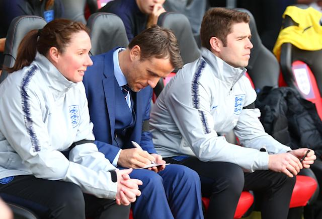 England women's head coach Phil Neville during 2019 FIFA Women's World Cup Group 1 qualifier match between England and Wales at St.Mary's, Southampton FC Southampton , England on 06 April 2018. (Photo by Kieran Galvin/NurPhoto)