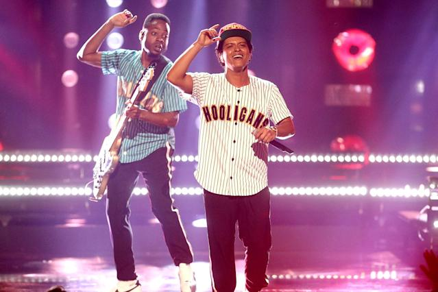 <p>With noms in each of the big three categories, Bruno Mars (<i>24K Magic</i>) will be hard to beat here. Mars is vying to become the first artist who isn't African American to win in this category. Mars won three awards at the recent NAACP Image Awards. (Photo: Frederick M. Brown/Getty Images ) </p>