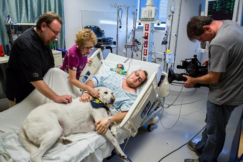 In this Nov. 7, 2012, photo released by Shelter Me shows Finn, a former shelter dog bringing comfort to patient Jacob Chodash, who had a brain tumor removed, and his parents atthe Ronald Reagan UCLAMedical Center in Los Angeles. (AP Photo/Shelter Me, MartinEhleben)