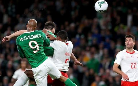 <span>McGoldrick's header kept Ireland in the fight for automatic Euro 2020 qualification</span> <span>Credit: PA </span>