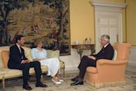 <p>The tones in the yellow drawing room were far more muted than the blues and pinks of Diana's sitting room, but still featured colorful accents, like porcelain roosters and a beautiful floral-patterned carpet. The giant tapestry made a great statement piece without being loud.</p>