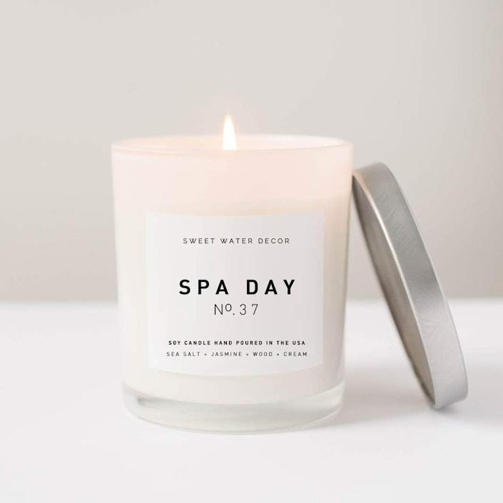 """<h2><a href=""""https://amzn.to/2zhl2Wj"""" rel=""""nofollow noopener"""" target=""""_blank"""" data-ylk=""""slk:Sweet Water Decor Spa Day Candle"""" class=""""link rapid-noclick-resp"""">Sweet Water Decor Spa Day Candle<br></a></h2><br>Bring the spa to her with a candle that can transform her living room into the ultimate realm of relaxation. <br><br><strong>Sweet Water Decor</strong> Spa Day Natural Candle, $, available at <a href=""""https://amzn.to/2zhl2Wj"""" rel=""""nofollow noopener"""" target=""""_blank"""" data-ylk=""""slk:Amazon"""" class=""""link rapid-noclick-resp"""">Amazon</a>"""