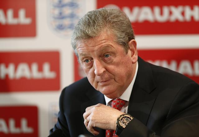 England's soccer manager Roy Hodgson announces the squad for the World Cup in Brazil in Luton, England, Monday, May 12, 2014. Hodgson has selected a World Cup squad containing several players unburdened by the team's past struggles, although Frank Lampard was among the veterans to still make the cut. The 35-year-old Lampard is the oldest player among the 23 that Hodgson is taking to Brazil, one of only six to have previously been to a World Cup. (AP Photo/Sang Tan)