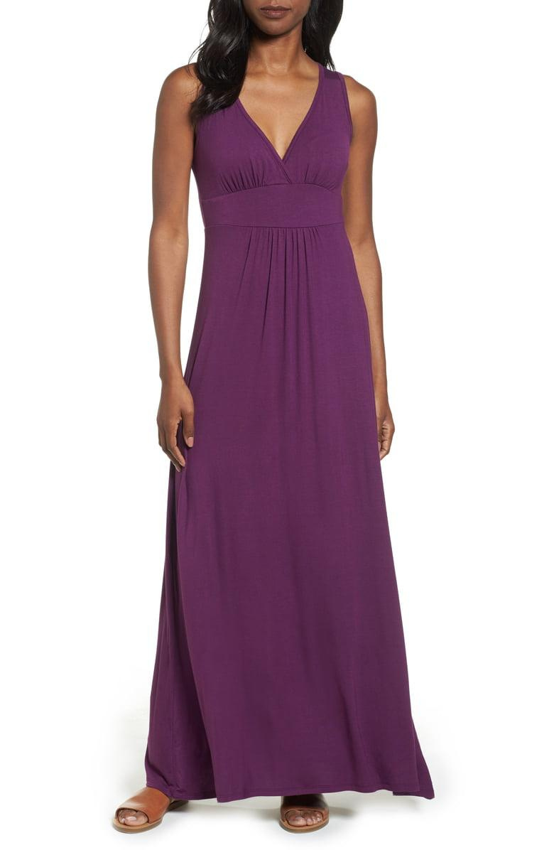 Loveappella V-neck Jersey Maxi Dress in purple dark