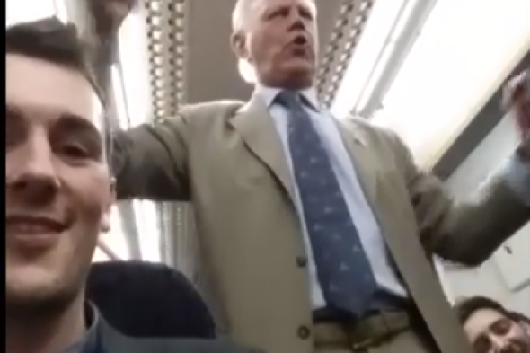 Drunk pensioner conducts hilarious singalong on late-night train to Kent (video)