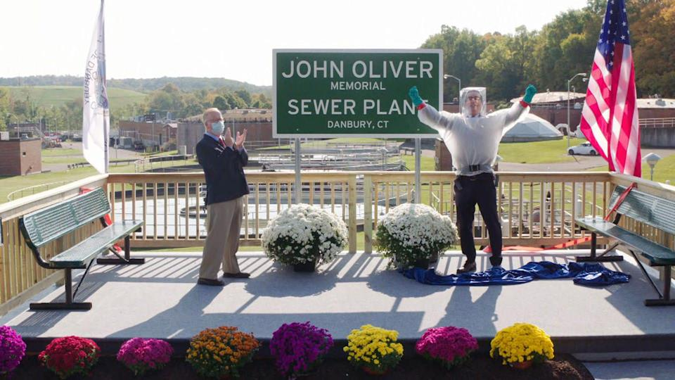 """The mayor of Danbury, Conn., """"memorialized"""" a still-alive John Oliver by naming a sewage treatment plant after him following an extended dare on HBO's 'Last Week Tonight.'"""