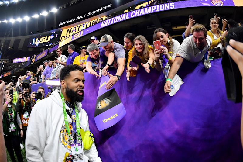 Odell Beckham Jr. is in more hot water after Monday night's BCS football championship. (Alika Jenner/Getty Images)