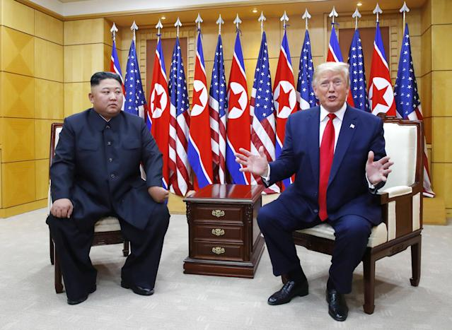 North Korea is estimated to have 20-30 rudimentary nuclear weapons but it's rumoured to be increasing its stock of weapon-usable plutonium. In 2018, its leader Kim Jong-un promised to produce more warheads and ballistic missiles but it's not yet certain if they've produced a nuclear warhead that can be carried by a ballistic missile. <em>Picture: Trump and Kim Jong-un (Getty)</em>