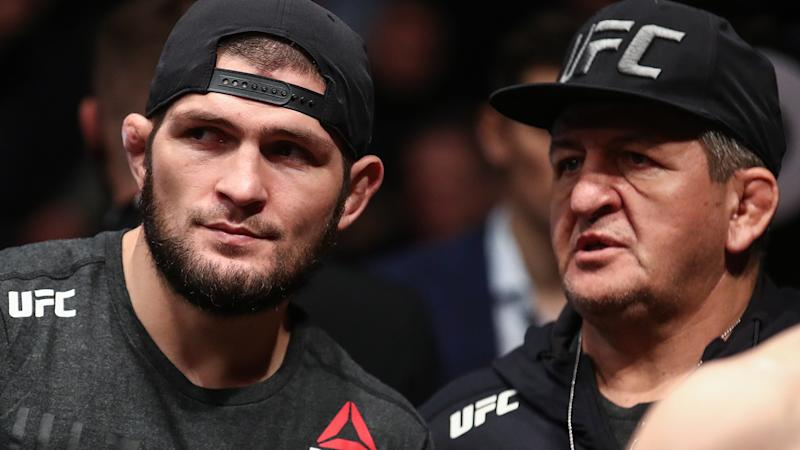 Khabib and Abdulmanap Nurmagomedov, pictured here at UFC Fight Night 163.