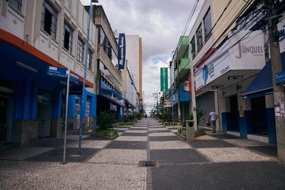Closed trade in the central region of Franca, Sao Paulo, Brazil, on 20 March 2020. Yesterday, 19, the Mayor Gilson de Souza restricted the operation of the city's commerce as a measure against the spread of the new Coronavirus (COVID19). Brazil records 7 deaths and more than 400 confirmed infections. (Photo by Igor Do Vale/NurPhoto via Getty Images)