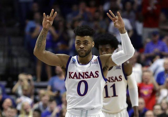 Frank Mason and Kansas have the shortest Vegas odds to win the national championship. (Getty)