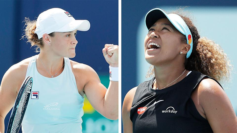 Ash Barty (pictured left) celebrating a win at the Miami Open and Naomi Osaka (pictured right) frustrated after losing.