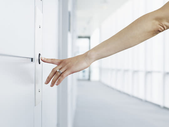 "<p>If you work in a high-rise building, this is probably one of the first things you — along with hundreds of other people — touch in the morning. <a href=""http://www.infectioncontroltoday.com/news/2010/11/level-of-bacteria-on-elevator-buttons-40-times-higher-than-on-public-toilet-seats.aspx"">Research</a> shows that elevator buttons can host up to 40 times more bacteria than public toilet seats! (We're cringing, too.) The solution? Try not to touch the button with your finger  — your elbow or knuckle works just as well.</p><p><i>(All Photos: Getty Images)</i><br /></p>"