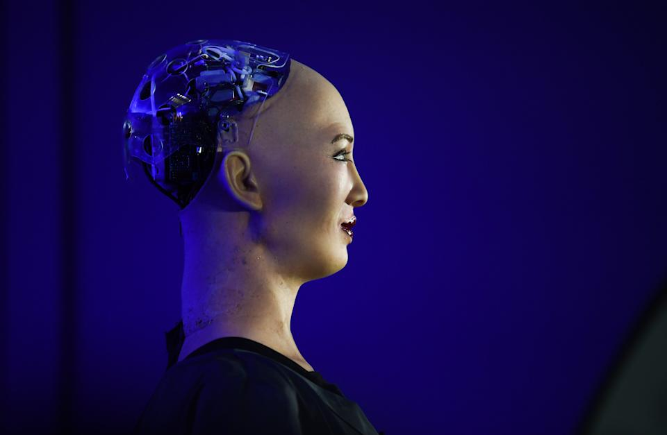 LISBON , PORTUGAL - 6 November 2019; Sophia The Female Robot during a press conference in the Media Village during day two of Web Summit 2019 at the Altice Arena in Lisbon, Portugal. (Photo By Stephen McCarthy/Sportsfile for Web Summit via Getty Images)
