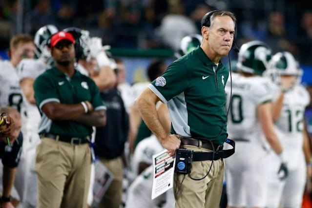 "Spartans head coach Mark Dantonio announced <a class=""link rapid-noclick-resp"" href=""/ncaaf/players/244416/"" data-ylk=""slk:Vayante Copeland"">Vayante Copeland</a> is no longer a member of the team. (Getty)"