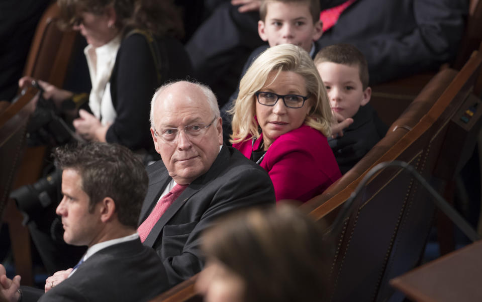 Newly-elected Rep. Liz Cheney, R-Wyo., right, is joined by her father, former Vice President Dick Cheney, left, as the 115th Congress convenes at the Capitol in Washington, Tuesday, Jan. 3, 2017. (J. Scott Applewhite/AP Photo)