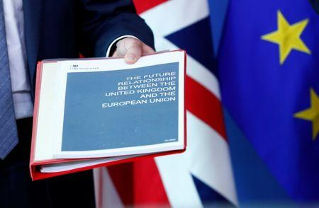 Britain's Secretary of State for Exiting the EU Raab holds documents as he poses with EU's chief Brexit negotiator Barnier  ahead of a meeting in Brussels