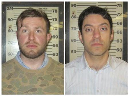 CNN producers Yon Pomrenze and Connor Fieldman Boals are pictured in this booking photo handout courtesy of Port Authority of New York