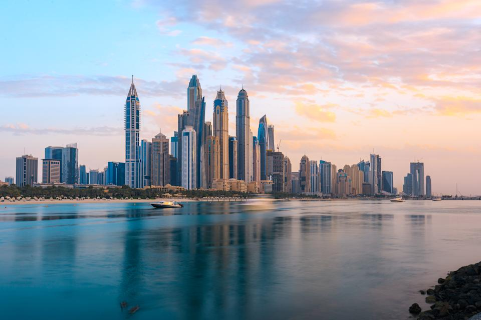 The Dubai Marina is the modern residential and hotels area located in the new part of Dubai. Dubai, United Arab Emirates. Taken on 22 Aug, 2020.