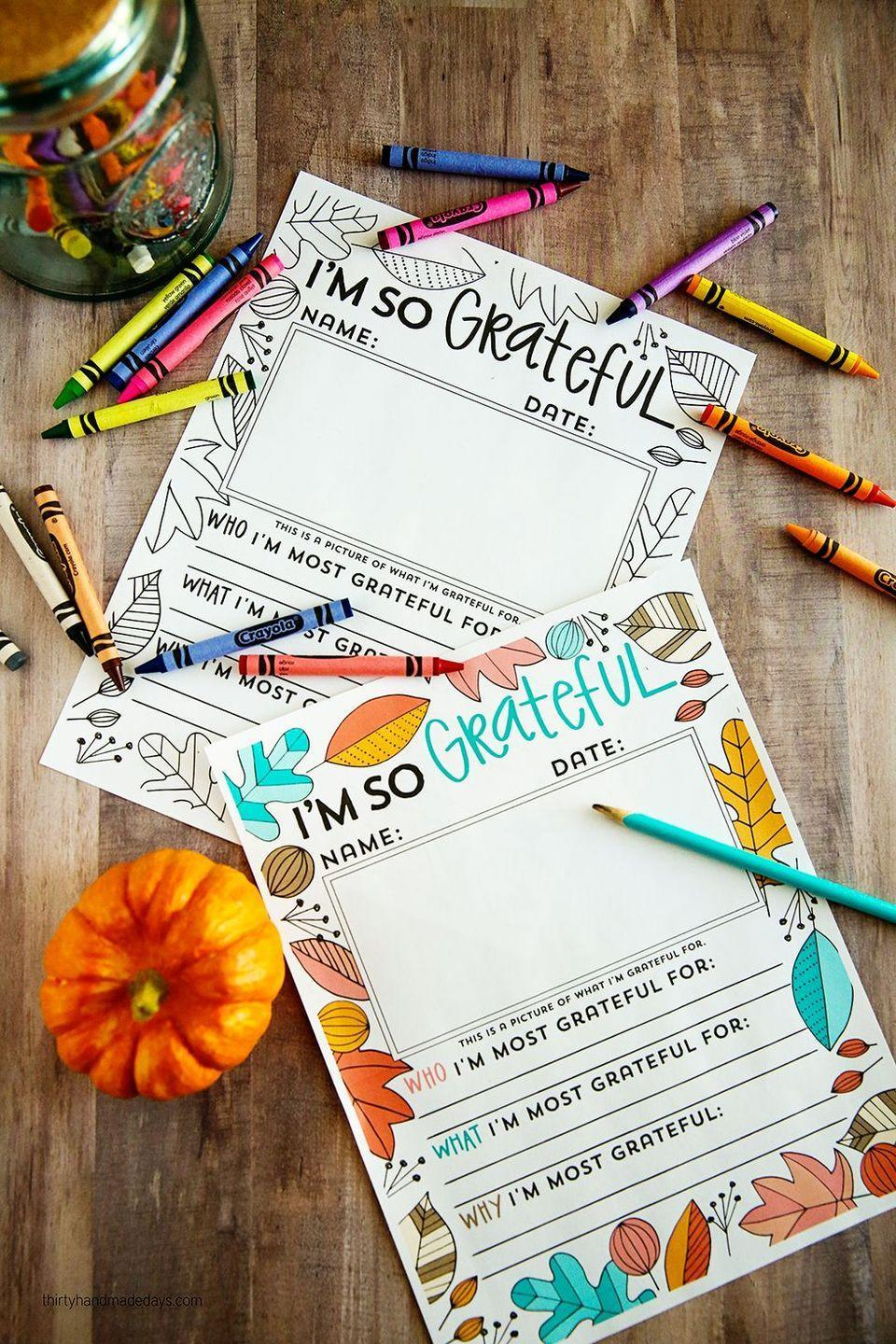 "<p>Feeling frazzled? Coloring sheets to the rescue! These printables are one-part placemat, one-part coloring sheet, and one-part thoughtful gratitude activity.</p><p><strong>Get the tutorial at <a href=""https://www.thirtyhandmadedays.com/updated-thanksgiving-printable/"" rel=""nofollow noopener"" target=""_blank"" data-ylk=""slk:Thirty Handmade Days"" class=""link rapid-noclick-resp"">Thirty Handmade Days</a>.</strong></p><p><strong><a class=""link rapid-noclick-resp"" href=""https://www.amazon.com/Crayola-Erasable-Coloring-Essentials-Stocking/dp/B07D2X22RM?tag=syn-yahoo-20&ascsubtag=%5Bartid%7C10050.g.1201%5Bsrc%7Cyahoo-us"" rel=""nofollow noopener"" target=""_blank"" data-ylk=""slk:SHOP ERASABLE COLORED PENCILS"">SHOP ERASABLE COLORED PENCILS</a><br></strong></p>"