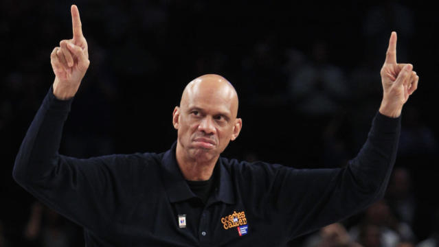 "NBA legend Kareem Abdul-Jabbar thinks <a class=""link rapid-noclick-resp"" href=""/ncaaf/players/263612/"" data-ylk=""slk:Michael Jordan"">Michael Jordan</a> and <a class=""link rapid-noclick-resp"" href=""/nba/players/3704/"" data-ylk=""slk:LeBron James"">LeBron James</a> can both be the G.O.A.T. (AP)"