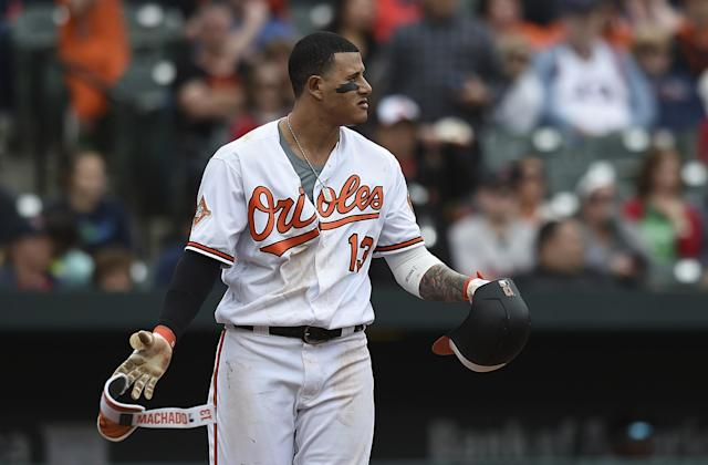 Manny Machado didn't take kindly to a pitch that was thrown near his head by Matt Barnes during the eighth inning on Sunday. (AP)
