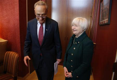 Yellen meets with Schumer in his office on Capitol Hill in Washington