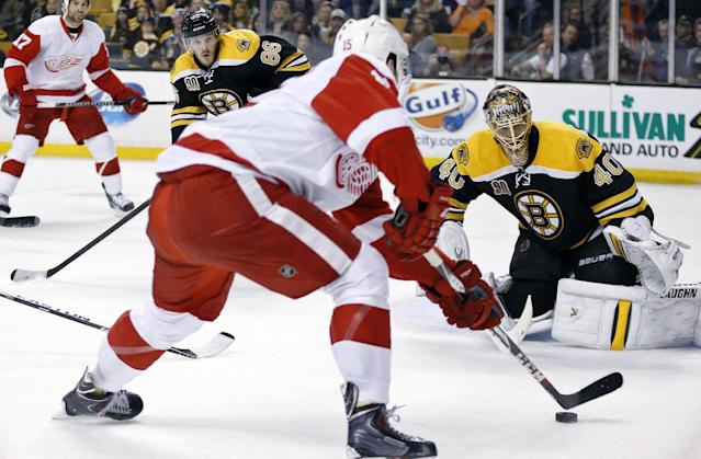 Detroit Red Wings' Riley Sheahan (15) readies a shot on Boston Bruins' Tuukka Rask (40) during the first period in Game 5 in the first round of the NHL hockey Stanley Cup playoffs in Boston, Saturday, April 26, 2014. (AP Photo/Michael Dwyer)