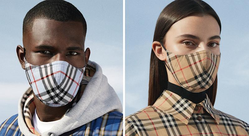 Burberry launches face coverings in blue and beige classic Vintage print. (Burberry)
