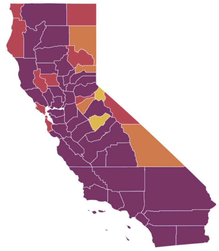 According to the state purple counties have widespread coronavirus transmission red counties have substantial spread orange have moderate spread and yellow counties have minimal spread