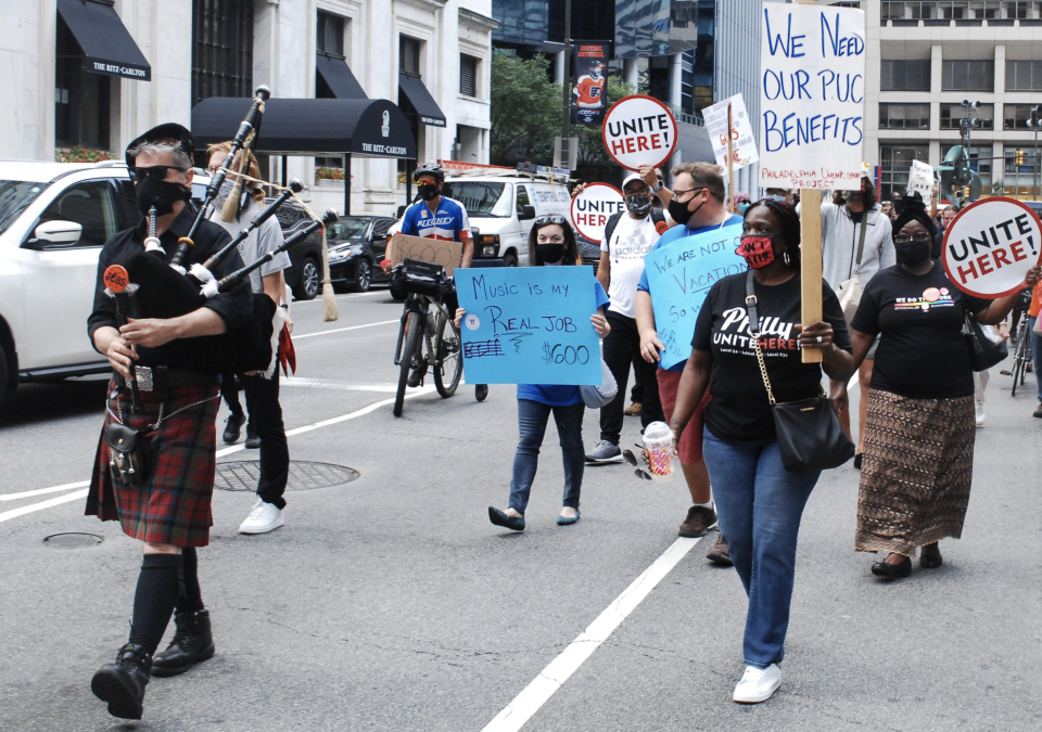 Philadelphian's rallied at City Hall before taking to the streets to demand Congress return and come to a deal on Unemployment and other key features of the HEROES Act in Philadelphia, PA, on August 20, 2020. (Photo by Cory Clark/NurPhoto via Getty Images)