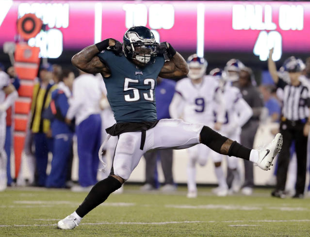 Philadelphia Eagles' Nigel Bradham (53) celebrates after sacking New York Giants quarterback Eli Manning during the second half of an NFL football game Thursday, Oct. 11, 2018, in East Rutherford, N.J. The Eagles won 34-13. (AP Photo/Julio Cortez)