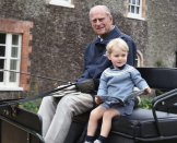 <p>Prince William shared this previously unseen photo of Prince Philip with his great-grandson Prince George enjoying a carriage ride in 2015 alongside his tribute to his late grandfather. Photo: Duchess of Cambridge</p>