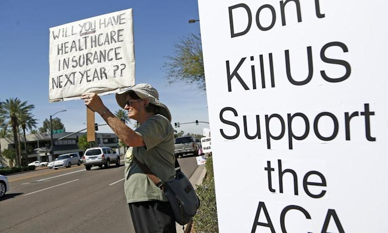 A protest in Phoenix, Arizona, in support of Obamacare.