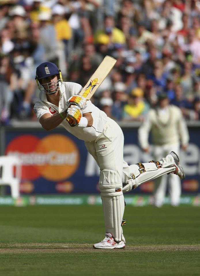 MELBOURNE, AUSTRALIA - DECEMBER 26:  Kevin Pietersen of England hits out during day one of the fourth Ashes Test Match between Australia and England at the Melbourne Cricket Ground on December 26, 2006 in Melbourne, Australia.  (Photo by Tom Shaw/Getty Images)